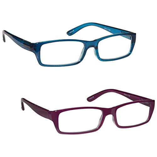 The Reading Glasses Company Sea Blue   Rich Pink Lightweight Readers Value 2 Pack Womens Ladies Rr16 34  1 75
