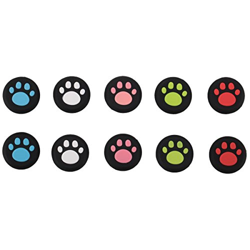 Price comparison product image 9CDeer 10 Pieces of Silicone Thumb Grips Thumbstick Joysticks Anologue Sticks Protective Cap Cover Cute Cat's Paw Style for PS4,  Xbox One