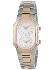 Philip Stein Womens 1TRG-FMOP-SSTRG Signature Two-Tone Rose Gold-Plated Stainless Steel Bracelet Watch