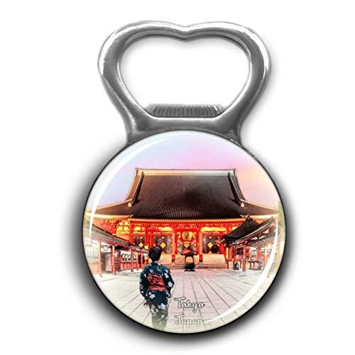 Sensoji Temple Tokyo Japan Opener Metal Fridge Magnet Crystal Glass Round Beer Bottle Opener City Souvenir Home Kitchen Decoration Gifts