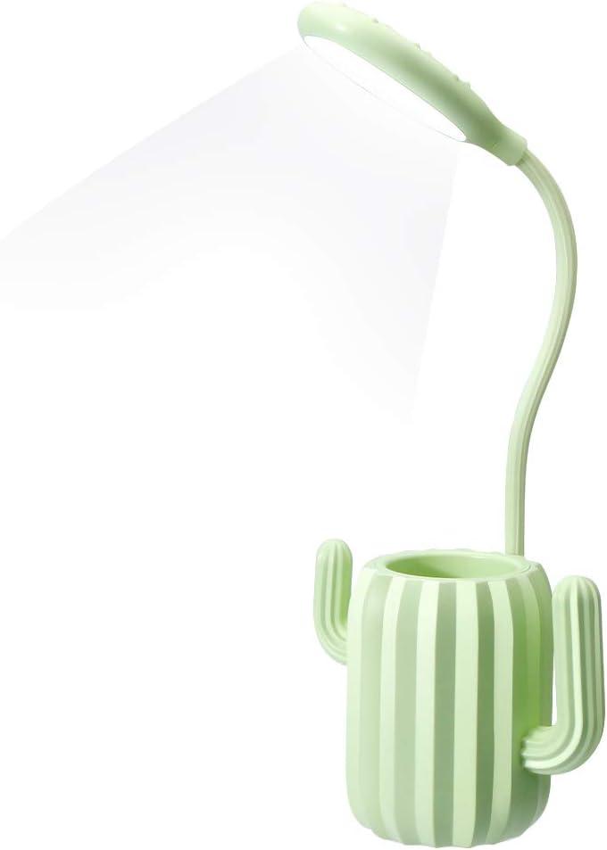 VADIV Lámpara Escritorio Led,Niño Cactus Flexo Lámpara de Mesa con Portalápices de Mesa USB Regulable Recargable 3 Modos Para Leer Estudiar Protege a Ojos - Verde