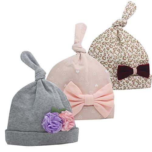 Newborn Beanie Baby Hats 0-6 Months 6-12 Months Girl Bow Caps Hospital Beanie Set (Grey,Purple, Pink, 6-12 Months)