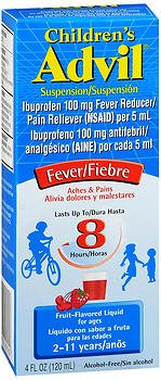 Advil Children's Fever Reducer/Pain Reliever, 100 mg Ibuprofen, Fruit flavor, Oral Suspension, 4 fl. oz. Bottle, pack of 6