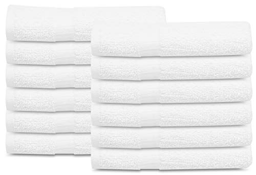 GOLD TEXTILES 12 Pcs New White (20×40) 100% Cotton Terry Bath Towels Salon/Gym Towels Light Weight Fast Drying