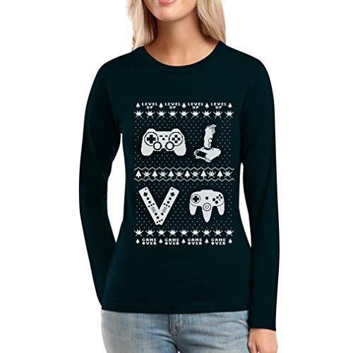 Maglia Videogame Sweater A Vintage Joystick Nero Da Lunghe Ugly Maniche Donna XxqCpBwC