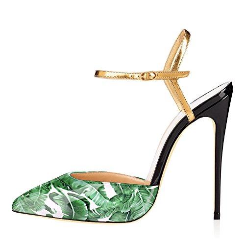 Damen Peep Toe Pumps Blumendruck High-Heels Stiletto Slingback mit Plateau Slingback Grün