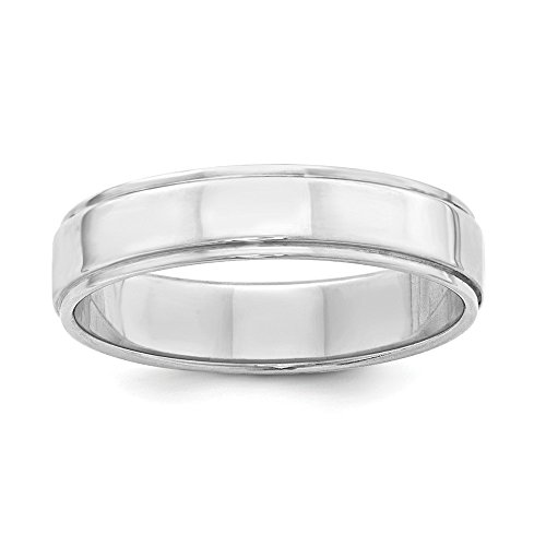 Wedding Bands USA SS 5mm Flat with Step Edge Size 7.5 - Sterling 5mm Flat Band Silver