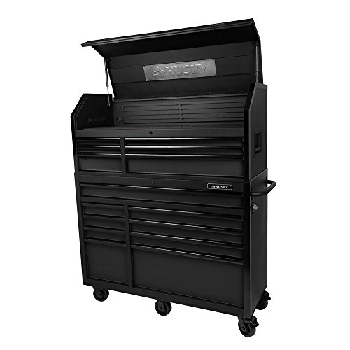 Husky 52 in. W 20 in. D 15-Drawer Tool Chest and Cabinet, Textured Black