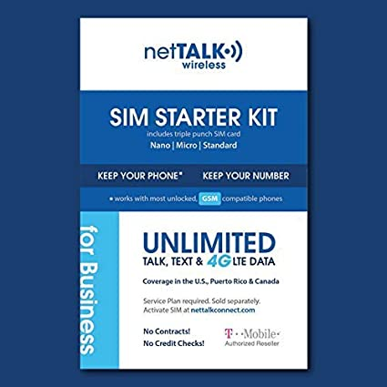 netTALK Wireless SIM Card Starter Kit for Business - Unlimited 4G LTE Data,  Talk & Text with netTALK Wireless Business Plan| Nationwide Network by