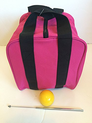 Unique Bocce Accessories Package - Extra Heavy Duty Nylon Bocce Bag (Pink with Black Handles), Yellow pallina, Extendable Measuring Device by BuyBocceBalls