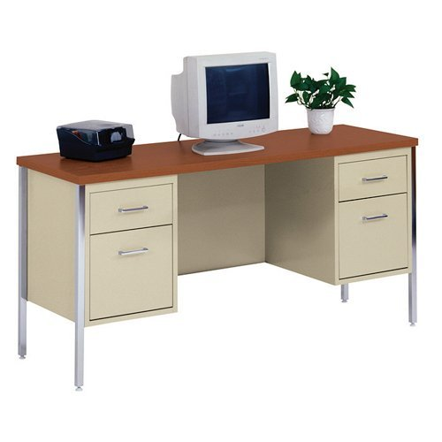 Sandusky 400 Series 60 in W in. D x 29.5 in. H Putty Industrial Strength Double Pedestal Kneespace Credenza Desk