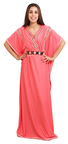 Moroccan-Caftans-Women-Breathable-Handmade-with-Embroidery-Coverup-Loungewear-Ethnic-Design-Salmon-Orange