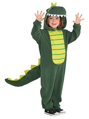 AMSCAN Zipster Dinosaur One Piece Halloween Costume for Kids, Small, with Attached Hood and ()
