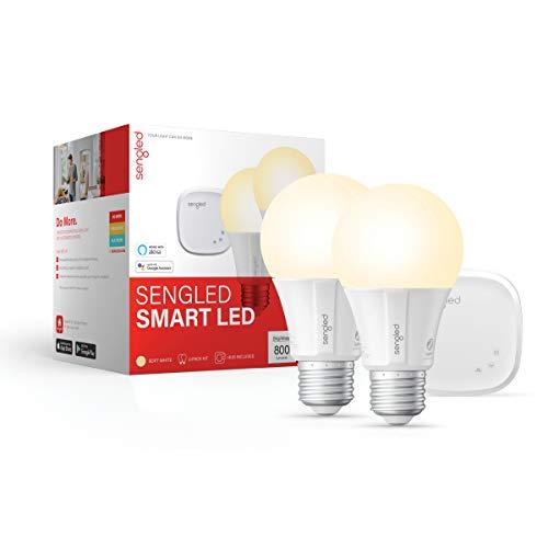 Sengled Smart LED Soft White A19 Starter Kit, 2700K 60W Equivalent, 2 Light Bulbs & Hub, Works with Alexa & Google Assistant