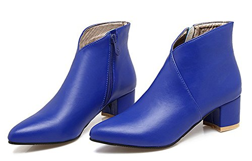 Boots Sexy Low Femme Aisun Bottines Bleu Chunky Pointues qTwIxng5