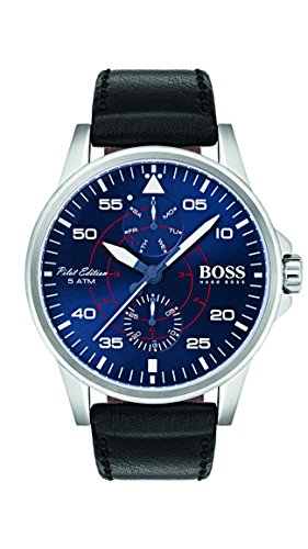Hugo Boss Men's Aviator Watch 1513515 Black 44mm Stainless Steel