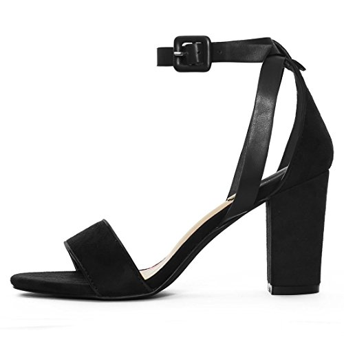 Piped Heel Sandals Allegra Strap 5 Ankle Panel Chunky PU HJ284 Women Black K YYwP8