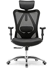 SIHOO Ergonomisk skrivbordsstol, vridbar stol med justerbart ländryggsstöd, nackstöd och armstöd, höjdjustering och vippfunktion, ryggvänlig kontorsstol, lastkapacitet: upp till 150 kg / 330 lb