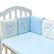 Beautylife88 Baby Safer Bumper Cotton Percale Crib Bumper (6pcs,Blue)