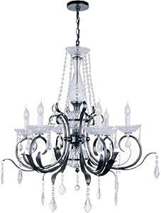Lite Source EL-10024 Gardenia 6-Lite Chandelier Lamp, Dark Bronze And Crystals