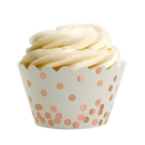 Andaz Press Rose Gold Foil Polka Dot Cupcake Wrappers, 24-Pack, Shiny Metallic Copper Champagne Themed Wedding Supplies