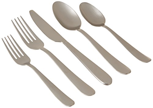 Cambridge Silversmiths 20 Piece Keegan Satin Flatware Set (Service for 4), Silver (Matte Flatware Set)