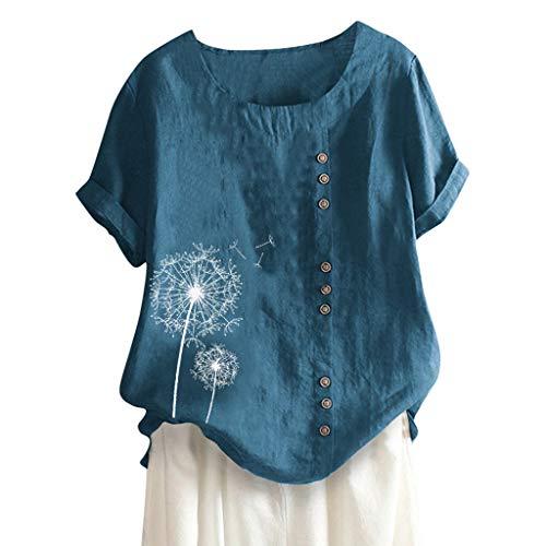 Londony❀♪ Women's Short Sleeve Cotton Linen Jacquard Blouses Top T-Shirt Linen Retro Chinese Frog Button Tops Blouse Blue