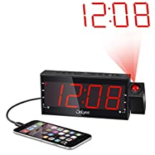 OnLyee Dimmable Projection Alarm Clock Radio with AM/FM ,USB Charging Port