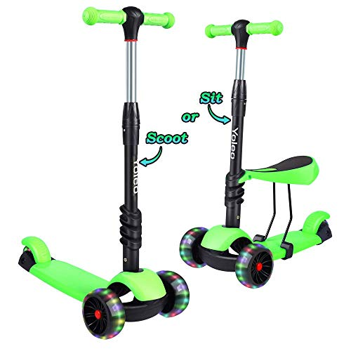 TONBUX Kids Toddlers Scooter 3 in 1 Adjustable Height Scooters with 3 Wheel Glider and PU Flashing Wheels Wide Deck for Girls & Boys Ages 2-8 (Green)