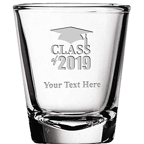 Graduation Shot Glasses, 2 oz Custom Engraved Class Of 2019 Graduation Shot Glass Gift, Add Your Own Engraving Prime