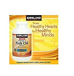 Kirkland Signature Natural Fish Oil Concentrate with Omega-3 Fatty Acids, 400 Softgels, 1000mg , Pack of 3