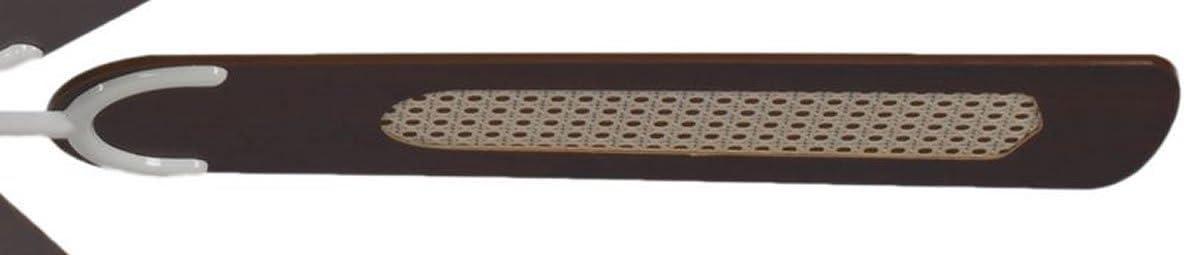 carcasa en blanco lacado aspas reversibles color caoba con insertos de rat/án Pepeo Potkuri ventilador de techo sin luz 132 cm para habitaciones de hasta 25 m/²