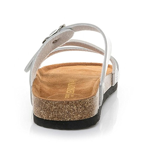 Chanclas Corcho Gruesa del Sandalias Zapatos Fiesta De Planas Sandalias De Playa Pie a Suela Dedo De Playa Naturazy del Boda Cu Lentejuelas Cruzar Plata Correa Y De Zapatillas TqRdWw