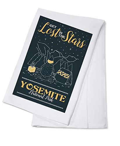 Yosemite National Park, California - Get Lost in the Stars - Whimsical Bear Stargazing (100% Cotton Kitchen Towel) ()