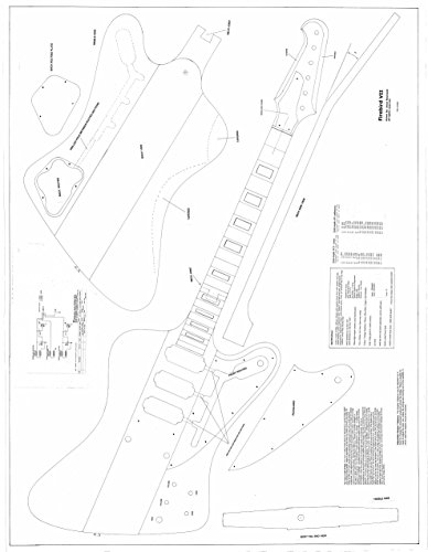 Gibson Firebird 7 Electric Guitar Plans - Full Scale Design Drawings - Technical