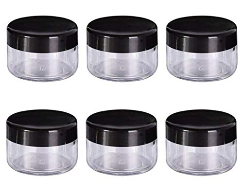 6 PCS 2 oz 60g/60ml Airtight Platic Round Clear Cosmetics Jars Bottle With Black Lids For Make Up Cosmetic Face Creams Lotions Lip Balms Samples Ointments Skin Care Beauty Items