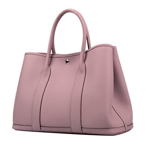 Leather Medium Tote Handbag - Ainifeel Women's Genuine Leather Top Handle Handbag Shopping Bag Tote Bag (Taro violet)