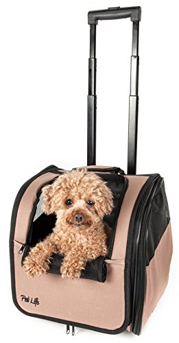 Wheeled Pet Carrier (Pet Life Wheeled Collapsible Breathable Airline Approved Travel Pet Dog Carrier, One Size, Brown)