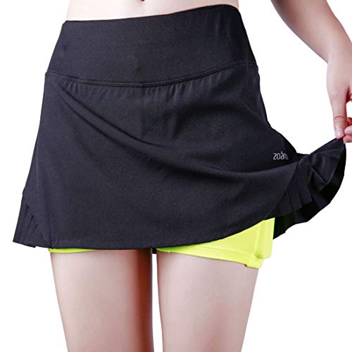 - ZOANO Women's Tennis Skirt Athletic Skort with Pockets for Running Golf Workout (L/14, Black-green)