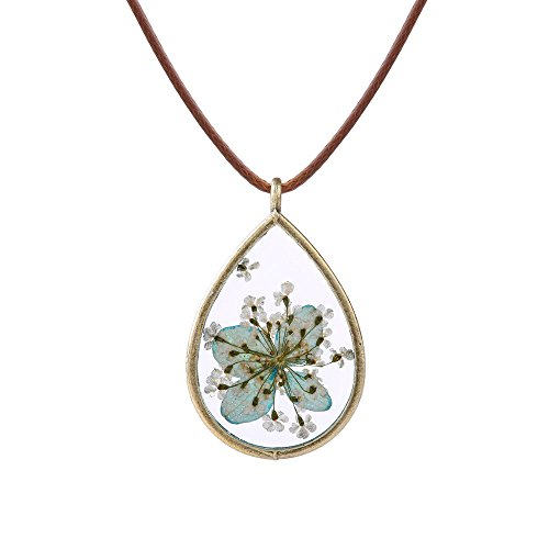 FM FM42 Pressed Dried Flowers Teardrop Shape Pendant Necklace FN4005