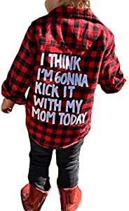 Canis Baby Boys Girls Long Sleeve Back Letters Print Button Down Red Plaid Flannel/Denim Shirt
