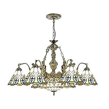 Tiffany Chandelier, Multi-Color Glass Chandelier LED E27 Ceiling Lamp 110V-220V Chandelier Carved Vintage Wrought Iron Precision Manufacturing Living Room Restaurant Hotel Cafe