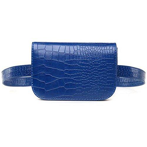 Women Multifunction Blue Crocodile Belt Waist Gift Mini Veins Leather Bag Fashion Badiya Bag Red for BwPq11