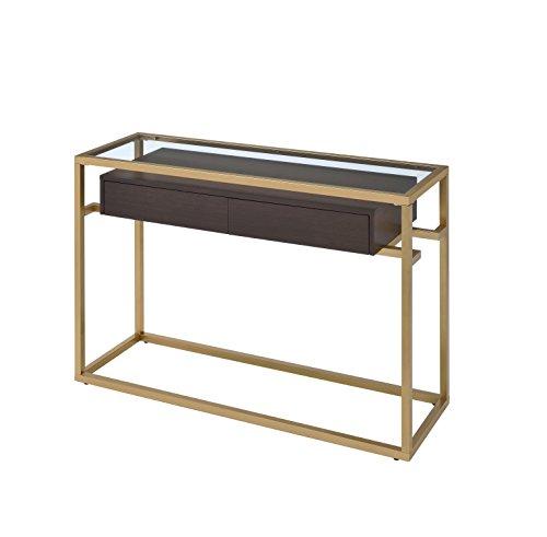 Acme Furniture 83348 Yumia Gold Sofa Table with Glass Top, 1 Size Acme Glass Sofa Table