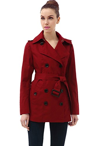- BGSD Women's Evelyn Classic Hooded Short Trench Coat - Red XS