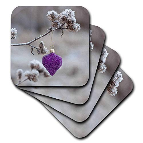 (3dRose Andrea Haase Christmas Photography - Winterly Photography Of Purple Christmas Ornament Outdoor - set of 4 Ceramic Tile Coasters (cst_318592_3))