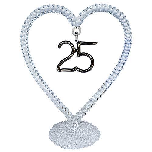 25th Silver Anniversary Wedding Cake Topper Hand Blown Glass -