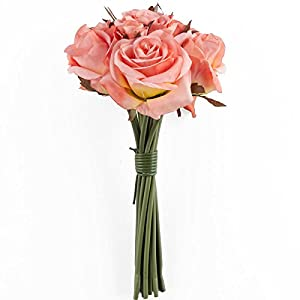 Hanken Lovely Artificial Peachy Coral Rose Floral Bouquet for Displaying, Events, and Arranging 67