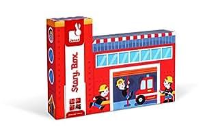 Janod - Story box, Bomberos de madera (Juratoys J08522)