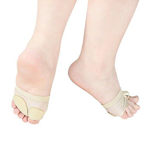 MiDee Feet Toes Thong Half Sole Dance Shoes Lyrical Dancing Paw Pad (S, Skin)